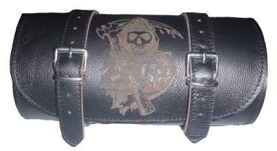 Barilotto borsa moto in pelle con incisione Anarchia Anarchy chopper bobber softail