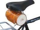 Cylindrical bag to pipe in leather for vintage bike in brushed leather