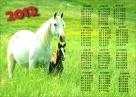 Calendar 2012 with an equestrian theme with photo paper