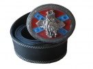Leather belt with buckle Western Rodeo