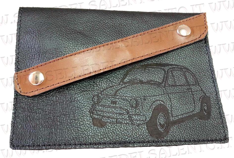 nuovo stile a1d97 9a9c2 Portadocumenti porta libretto vera pelle auto Fiat Cinquecento 500 vintage  prima serie