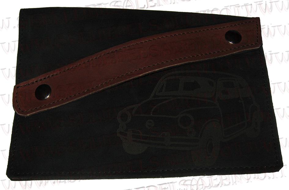 scarpe sportive c535d 5843e Portadocumenti porta libretto vera pelle auto Fiat Seicento 600 vintage  prima serie